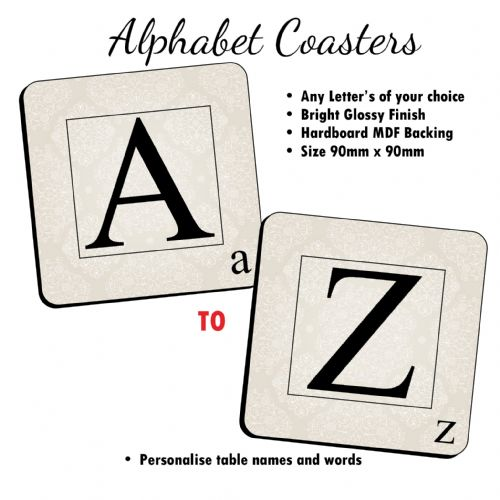 Alphabet Coasters - Personalise Table Family Names Words Drinks Mat (Sold Singular) N30 A to Z